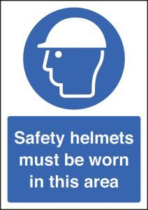 Safety helmet must be worn - A4 rp