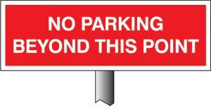 Verge sign - No parking beyond this point 450x150mm (post 800mm)