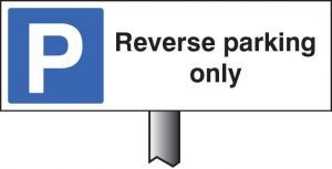 Verge sign - Reverse parking only 450x150mm (post 800mm)