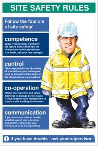 Site Safety Rules The four c's of site safety 600x900 5mm pvc