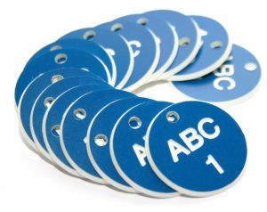 38mm Engraved Valve Tags - 50 sequential numbers - (eg. 1-50) White text on blue