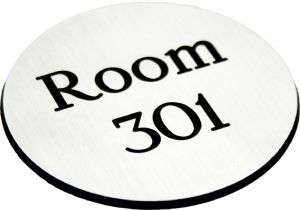 Engraved Sign with adhesive backing - 95mm dia Black text on white