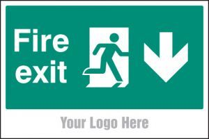 Fire exit, arrow down, site saver sign 600x400mm