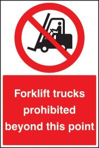 Forklifts prohibited beyond this point floor graphic 400x600mm