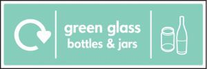 WRAP Recycling Sign - Green glass bottles & jars