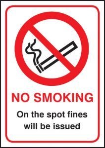 No smoking on the spot fines will be issued