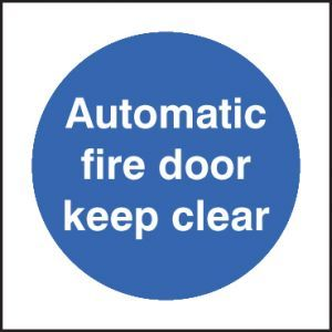 Automatic fire door keep clear 80x80mm adhesive backed