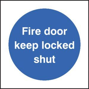 Fire door keep locked shut 80x80mm adhesive backed