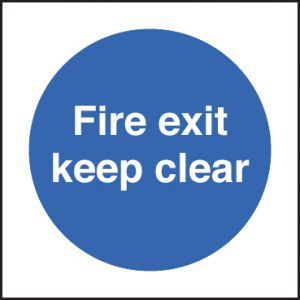 Fire exit keep clear 80x80mm adhesive backed