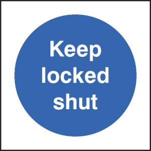 Keep locked shut 80x80mm adhesive backed