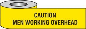 Caution men working overhead barrier tape