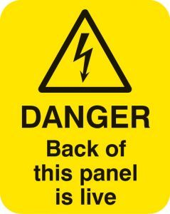 Danger back of this panel is live Sheet of 25 labels 40x50mm