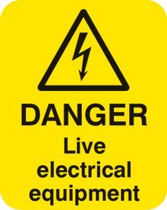 Danger live electrical equipment Sheet of 25 labels 40x50mm