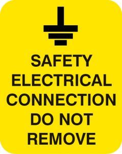 Safety electrical connection do not remove Sheet of 25 labels 40x50mm