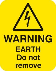 Warning earth do not remove Sheet of 25 labels 40x50mm