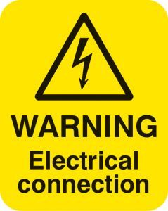 Warning electrical connection  Sheet of 25 labels 40x50mm
