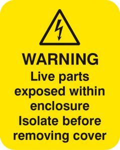 Warning live parts within enclosure Sheet of 25 labels 40x50mm